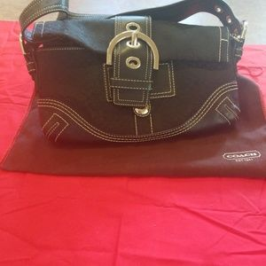 Small Black leather and fabric Coach purse